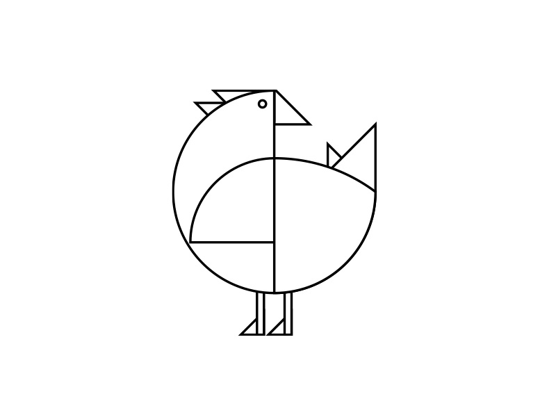 Geometric Chicken minimal outline farm animal line rooster hen chicken geometric icon illustration