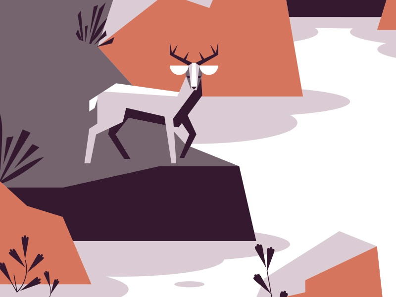 'Concert Poster' geometric plants flat 4 color screen print poster concert deer