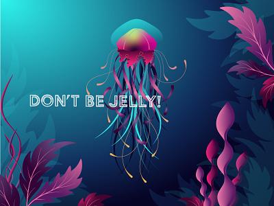Don't Be Jelly! seaweed plant squid medusa tenacle gradient fish ocean vector jellyfish illustration