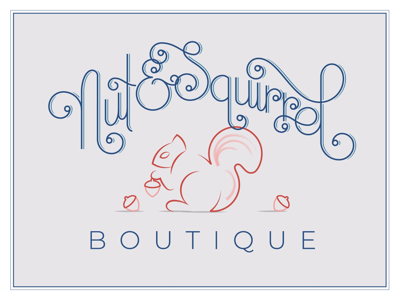 Nut Squirrel Brand Identity handlettering illustration acorn children clothing logo icon squirrel nut identity brand