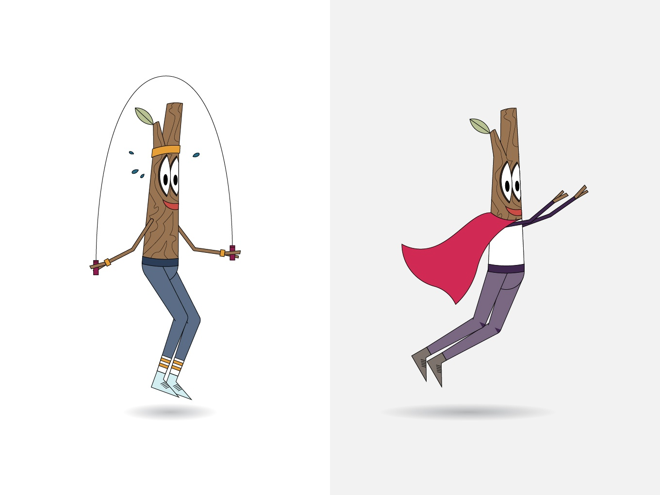 Spry Sprig Concept 2 concept logo superhero jumprope active tree branch stick twig character iconography icon illustration
