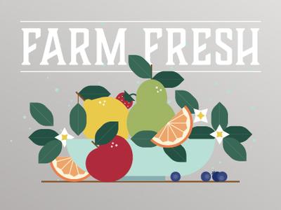 Farm Fresh Fruit Bowl healthy simple graphic flower leaves illustrator cc flat illustration illustration fresh farm bowl leaf food blueberry strawberry pear orange lemon apple fruit