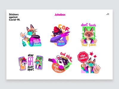 Jukebox - Stickers Against Covid-19 creative character app designs coronavirus covid-19 sticker stickers illustration design ux ui