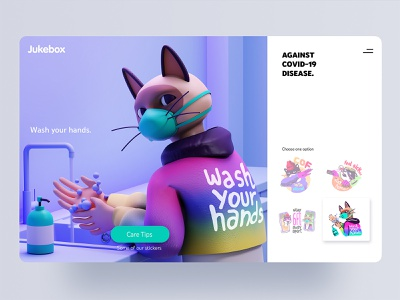 Wash your Hands.,, Jukebox Stickers c4d 3d visual design visual covid character app interface web illustration design ux ui