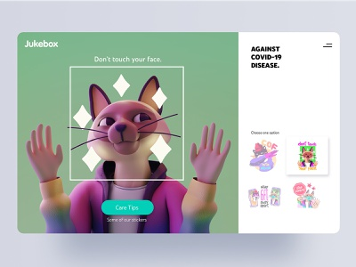 Don't touch your face,  Jukebox Stickers brand covid19 cat character app interface web illustration design ux ui