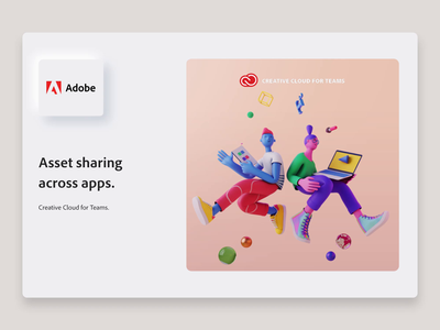 Adobe CC - Assets Sharing marketing product team cloud creative adobe characterdesign object share character blender3d octane cinema4d 3d neumorphism web illustration design ux ui