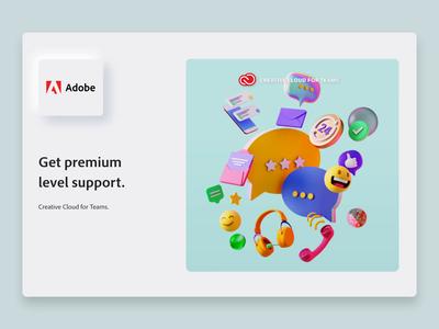 Adobe CC - Premium Support Level education support team adobe branding skeumorphic emoji app interface web illustration design ux ui