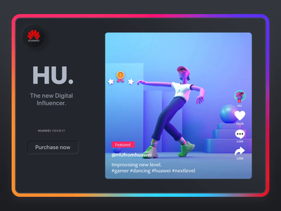 HU dance |  Huawei Digital Influencer onboarding fashion trend tiktok purchase skeumorphic skeumorphism motion huawei minimalism animation character app web interface illustration design ux ui