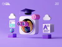 UOL | Digital School video suite search procedural octane cinema 4d blender 3d inspiration uol logo minimalism character app interface web illustration design ux ui