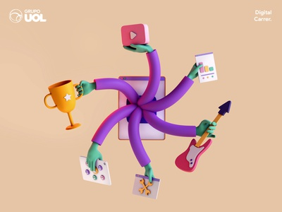 UOL | Digital Career cinema4d blender youtube minimalism animation character app interface web illustration design ux ui branding