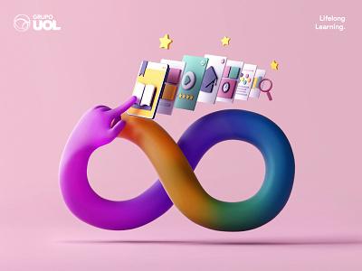UOL | Lifelong Learning trending designer character design cinema4d blender blender3d minimalism animation character app interface web illustration design ux ui