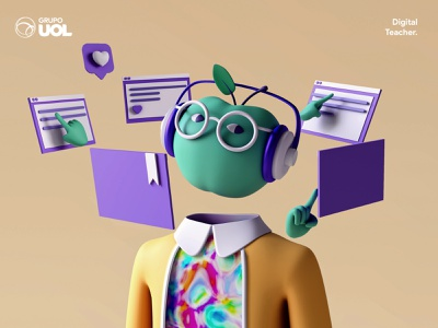 UOL   Digital Teacher 3d art 3d character 3d design 3d character app interface web illustration design ux ui