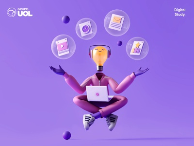 UOL | Digital Study minimalism educational education 3d cahracter character app interface web illustration design ux ui