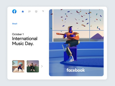 Facebook Always On | 03 inspiration art musician music player architecture blender cinema4d 3d skeumorphic music facebook branding character app interface web illustration design ux ui