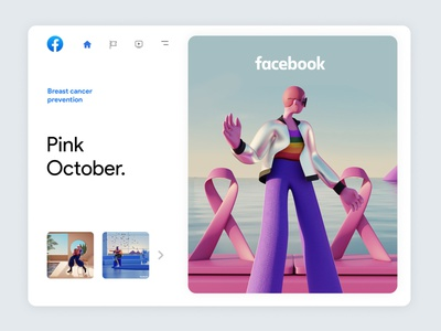 Facebook Always On | 04 3d illustration facebook 3d character inspiration trend october pink character design blender cienam4d 3d character app interface web illustration design ux ui