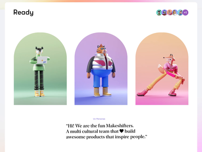 Ready, Brand Characters | II animation creative colorful characters page webdesign tiger animals 3d 3d character vector branding logo app interface web illustration design ux ui
