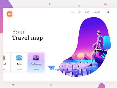 Your Travel Map sketch mobile gradient logo flat web interface illustration ux ui design app