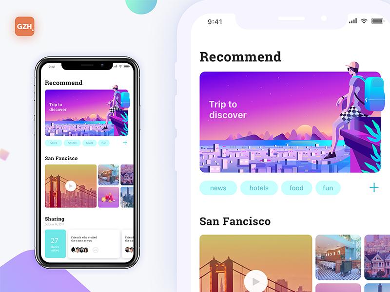 Travel guide sketch mobile logo web typography interface illustration ux ui design app travel