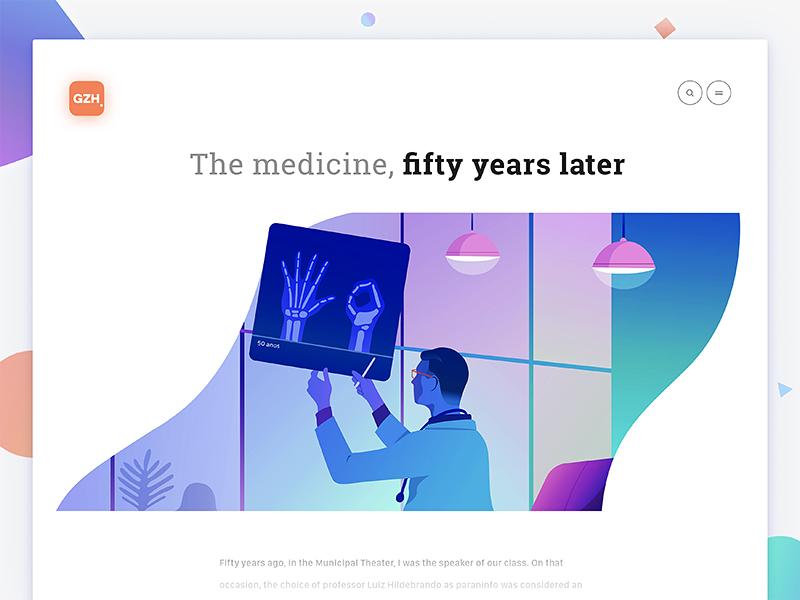 50 years of medicine minimalism interface animation brand editorial web character illustration ux ui design typography