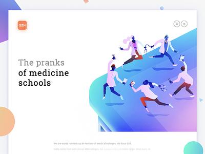 La Danse of medicine medicine mobile art gradient flat web interface illustration ux ui design app