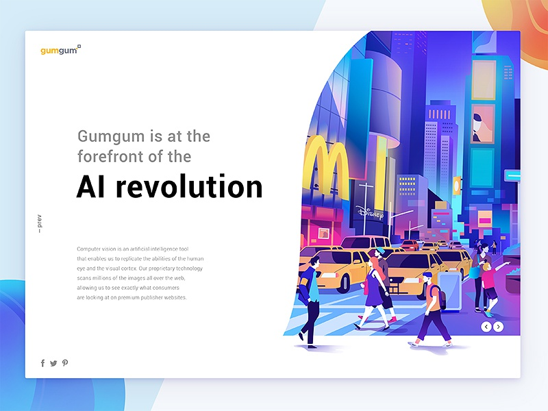 gumgum AI revolution minimalism interface animation brand editorial web character illustration ux ui design typography