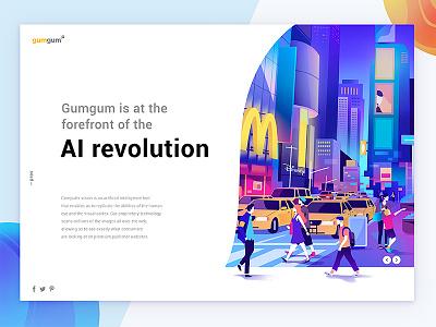gumgum AI revolution minimalism interface animation brand editorial web character illustration ux ui design typography