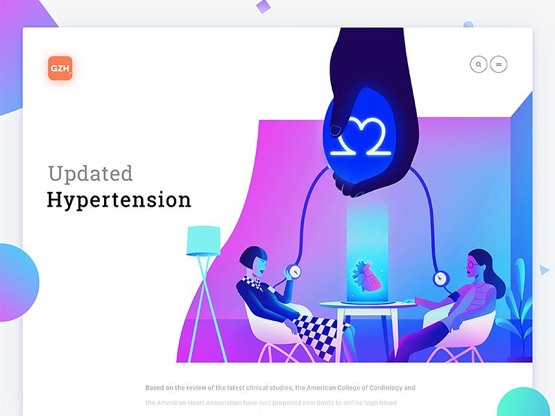 Updated Hypertension medicine mobile art gradient flat web interface illustration ux ui design app