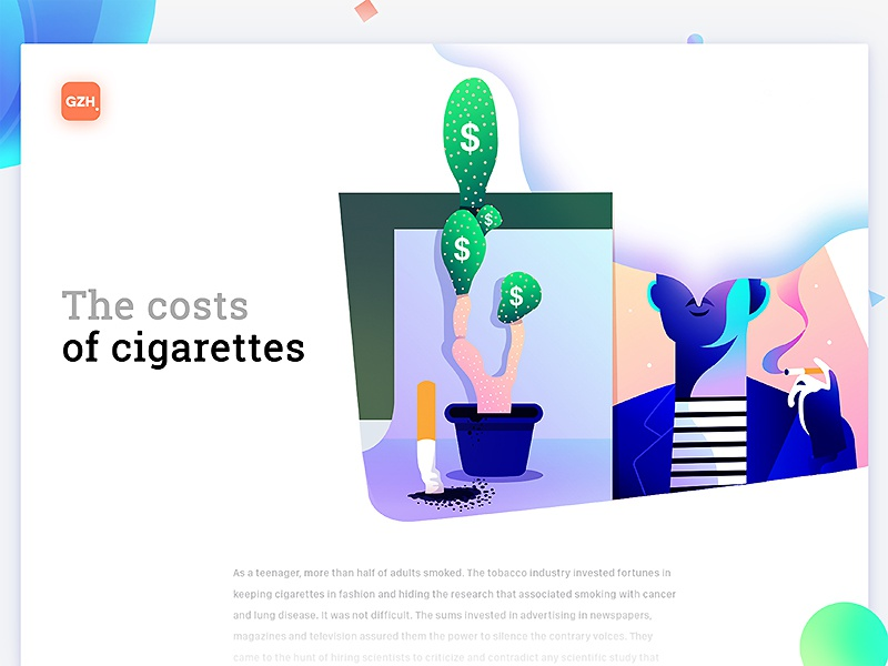 The costs of cigarettes minimalism interface brand editorial web character illustration ux ui design medicine typography