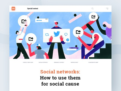 Social Networks for social cause   GZH minimalism interface animation brand editorial web character illustration ux ui design typography