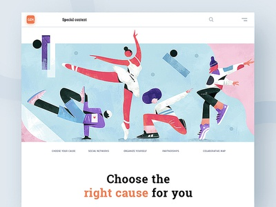 Choose the right cause for you | GZH ai minimalism interface brand editorial web character illustration ux ui design typography