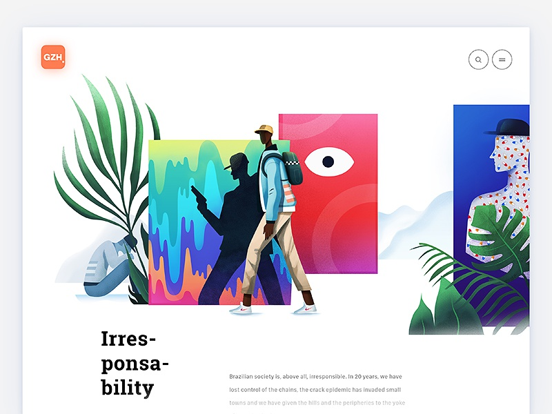 Irresponsability, digital illo for GZH article sketch interface product design character page app web design illustration article ux ui
