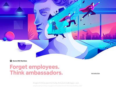Atomic DNA Manifesto - Introduction minimalism gradient app vector creative character interface web illustration design ux ui