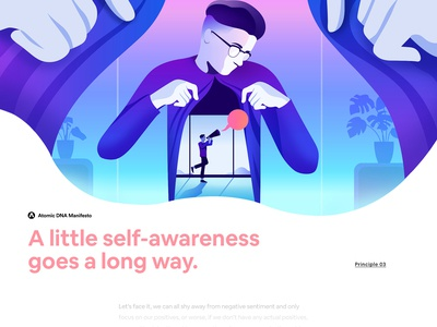 Atomic DNA Manifesto - Principle 03 futuristic minimalism gradient character app interface web illustration design ux ui