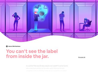 Atomic DNA Manifesto - Principle 06 futurism vector brand minimalism flat creative character app interface web illustration design ux ui