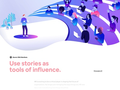 Atomic DNA Manifesto - Principle 07 futurism brand minimalism gradient creative character app interface web illustration design ux ui