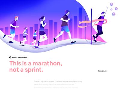 Atomic DNA Manifesto - Principle 08 futurism editorial minimalism gradient character motion app interface illustration design ux ui