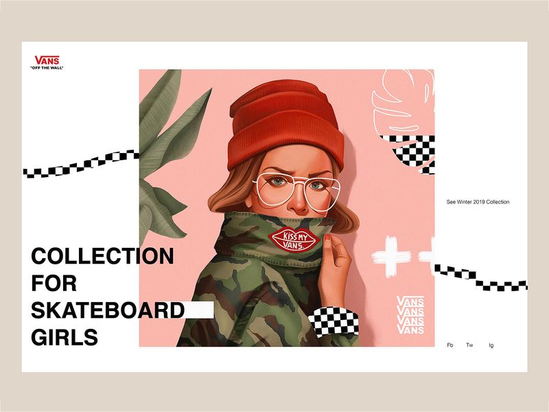 Vans - Concept Illustration and Design VII plants minimalism character skeumorphic creative vans fashion branding app interface web illustration design ux ui