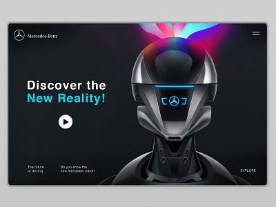 Mercedes-Benz - Connect Me - robot illustration mercedes minimalism creative technology ai robot interface web illustration design ux ui