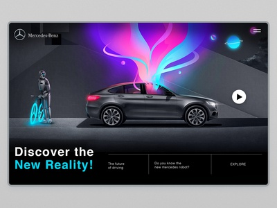 Mercedes-Benz - Connect Me - robot illo logo car minimalism creative robot branding mercedes benz mercedes app interface web illustration design ux ui