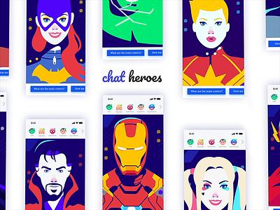 ChatHeroes web experience   02 logo dccomics marvel flat minimalism motion creative character animation app interface web illustration design ux ui
