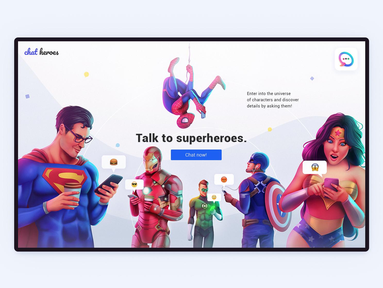 ChatHeroes web experience   03 branding motion dc marvel superheroes minimalism character app interface web illustration design ux ui