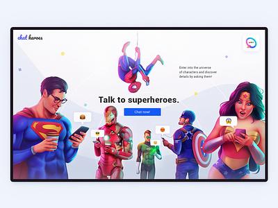 ChatHeroes web experience | 03 branding motion dc marvel superheroes minimalism character app interface web illustration design ux ui