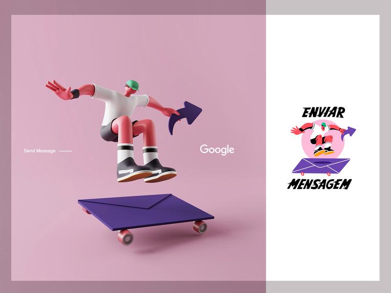Send Message | Google Partners minimalist 3d art message send skater google octane c4d 3d character app interface web illustration design ux ui