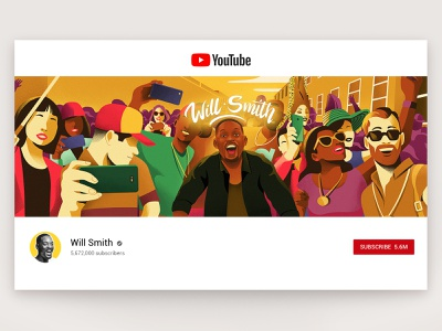 Will Smith   Youtube channel illustration business artwork brand minimalism creative will smith character interface web illustration design ux ui