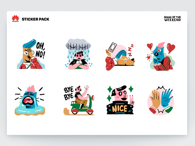Huawei | Sticker pack | Kings of the Weekend huawei minimalism flat sticker design character emoji sticker interface web illustration design ux ui