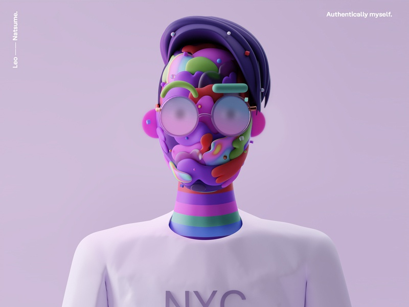 Leo Natsume picture 2020 minimalism web c4d cycles 3d blender octane avatar face interface illustration design ux ui