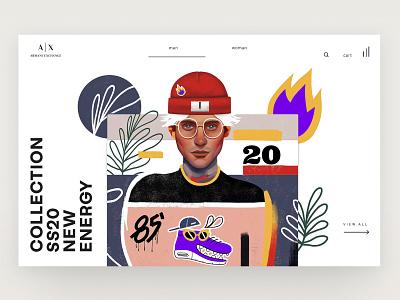 Armani Exchange Illustration | 01 editorial typography flat creative fashion minimalism character app interface web illustration design ux ui