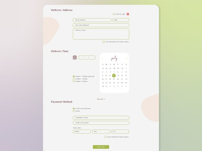 Delivery Check Out branding ux mockup ui design graphic design date picker payment method address checkout page web design website service design delivery