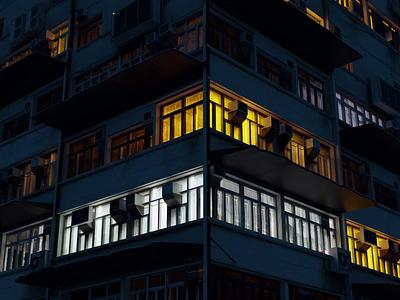 Apartment kitchen evening night city building lightning lights 3dmodels icon ux animated gif branding ui logo bloom blender 3d animation