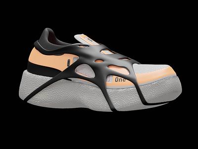 0NE one boot adidas orange running trail running product productdesign sneakerhead sneaker shoes branding design blender 3d